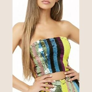 Forever 21 Multicolor Sequin Tube Top S